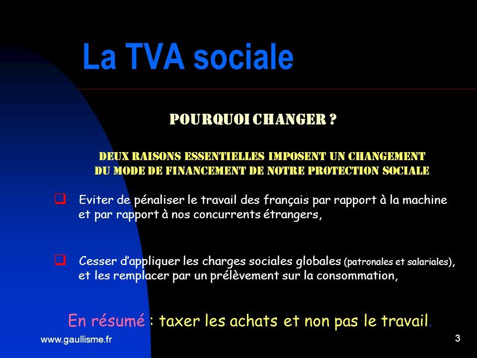www.gaullisme.fr 3 La TVA sociale Pourquoi Changer ? Eviter de pénaliser le travail des français par rapport à la machine et par rapport à nos concurr