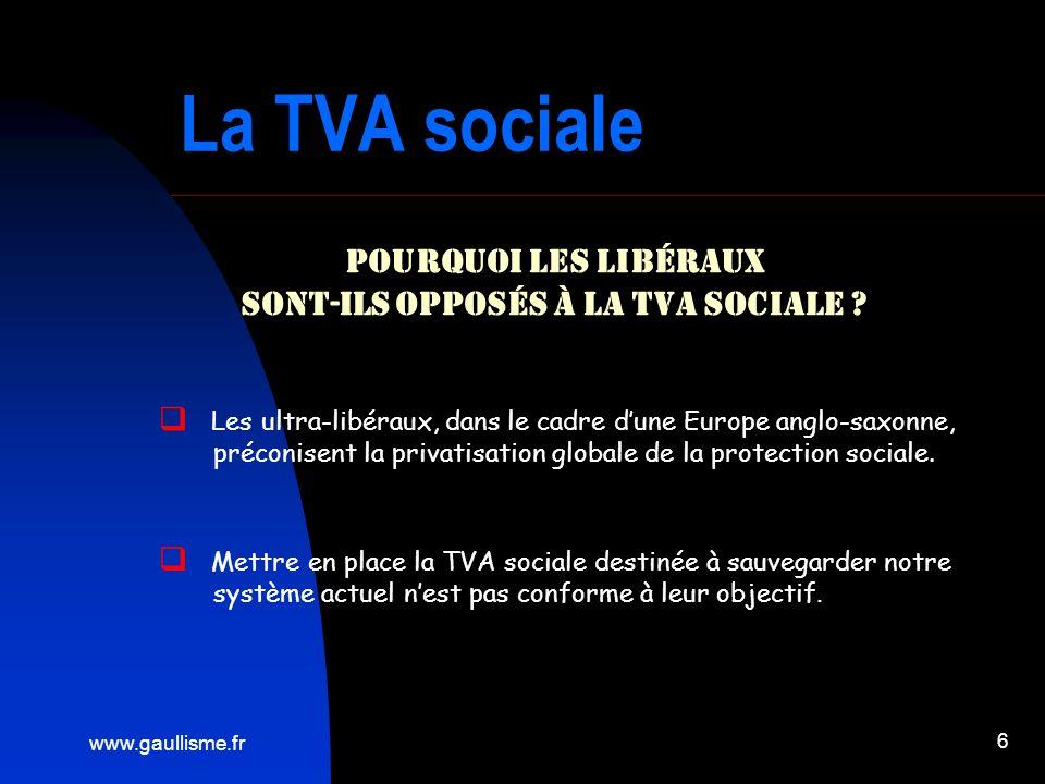 www.gaullisme.fr 6 La TVA sociale Pourquoi les libéraux sont-ils opposés à la TVA sociale ? Les ultra-libéraux, dans le cadre dune Europe anglo-saxonn