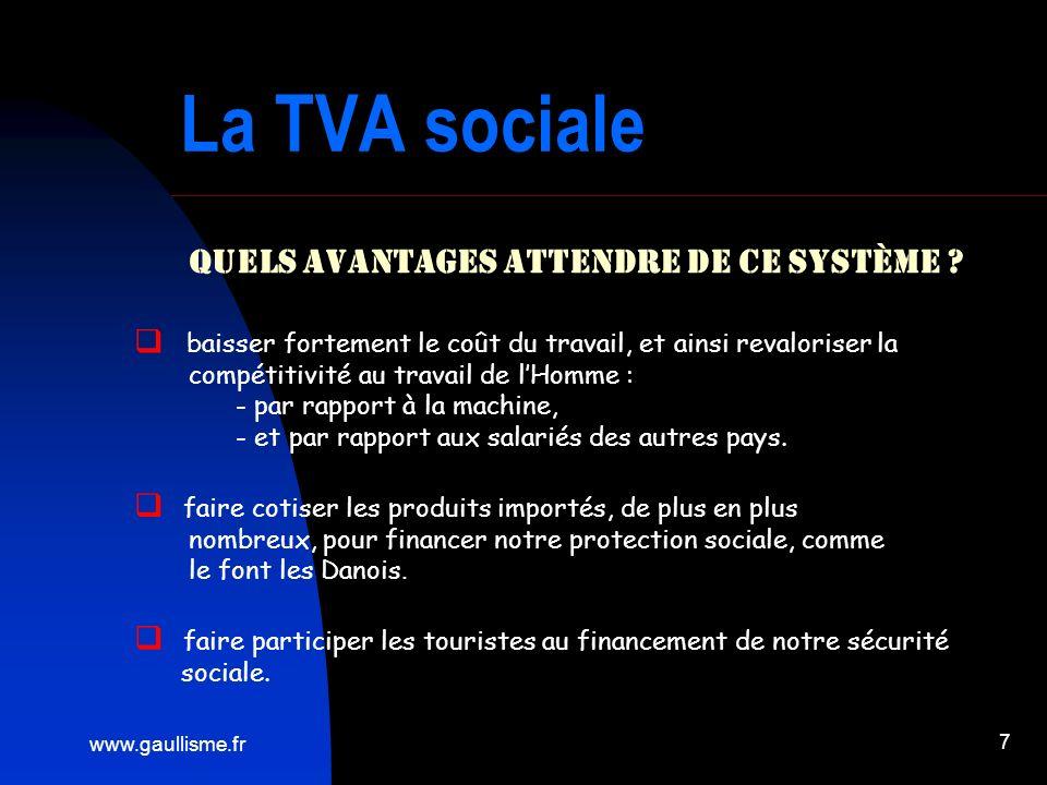 www.gaullisme.fr 7 La TVA sociale Quels avantages attendre de ce système ? baisser fortement le coût du travail, et ainsi revaloriser la compétitivité