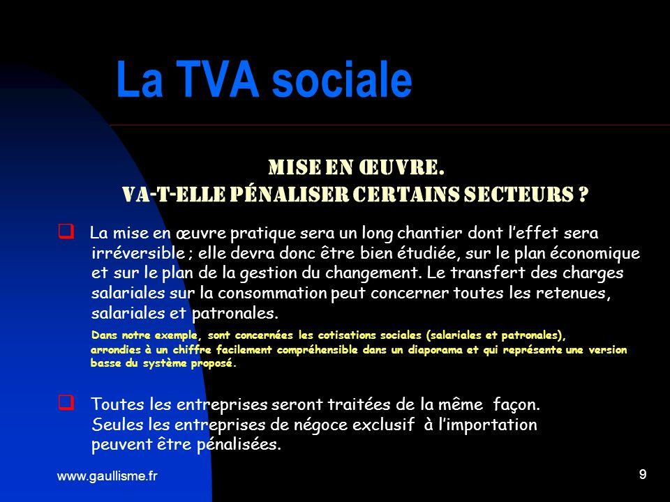 www.gaullisme.fr 9 La TVA sociale Mise en œuvre. Va-t-elle pénaliser certains secteurs ? La mise en œuvre pratique sera un long chantier dont leffet s