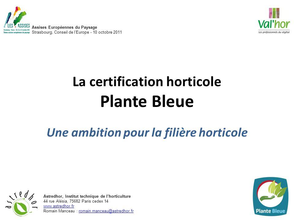 La certification horticole Plante Bleue Une ambition pour la filière horticole Assises Européennes du Paysage Strasbourg, Conseil de lEurope - 10 octo