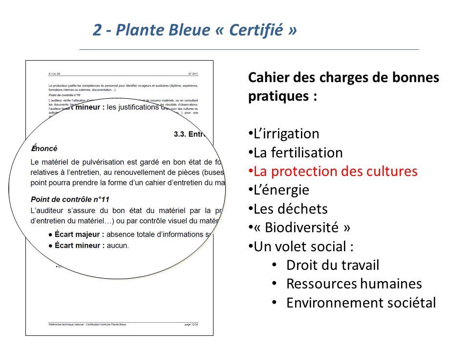 2 - Plante Bleue « Certifié » Cahier des charges de bonnes pratiques : Lirrigation La fertilisation La protection des cultures Lénergie Les déchets «