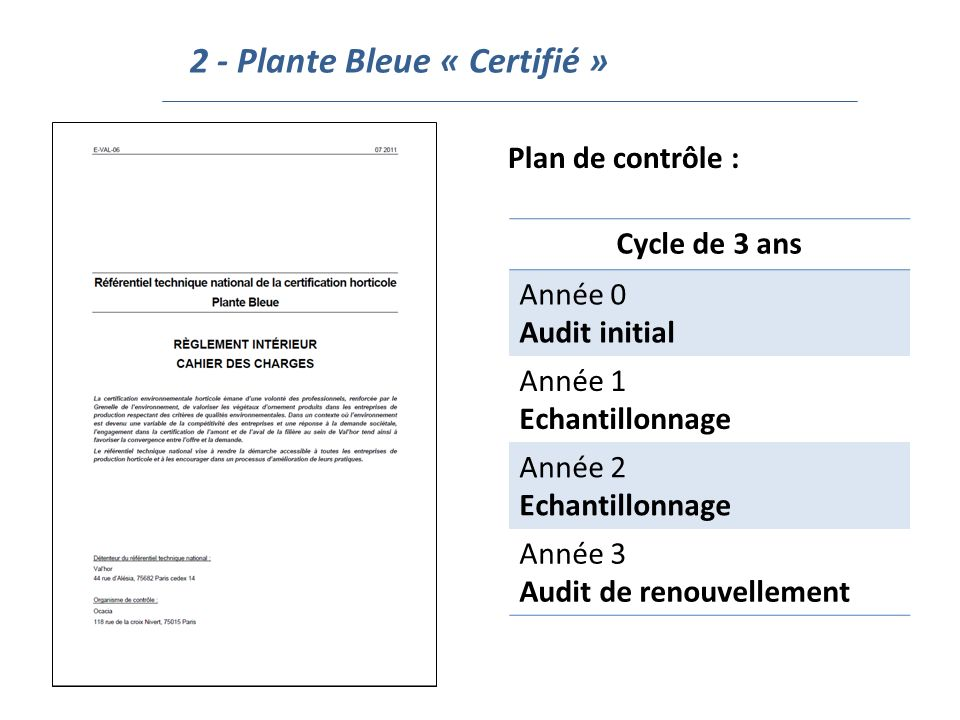 2 - Plante Bleue « Certifié » Plan de contrôle : Cycle de 3 ans Année 0 Audit initial Année 1 Echantillonnage Année 2 Echantillonnage Année 3 Audit de