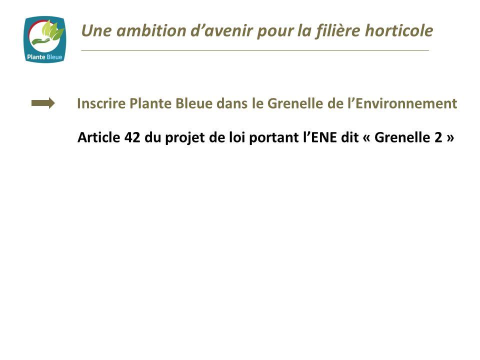 Inscrire Plante Bleue dans le Grenelle de lEnvironnement Article 42 du projet de loi portant lENE dit « Grenelle 2 »