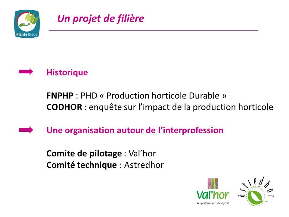 Un projet de filière Historique FNPHP : PHD « Production horticole Durable » CODHOR : enquête sur limpact de la production horticole Une organisation