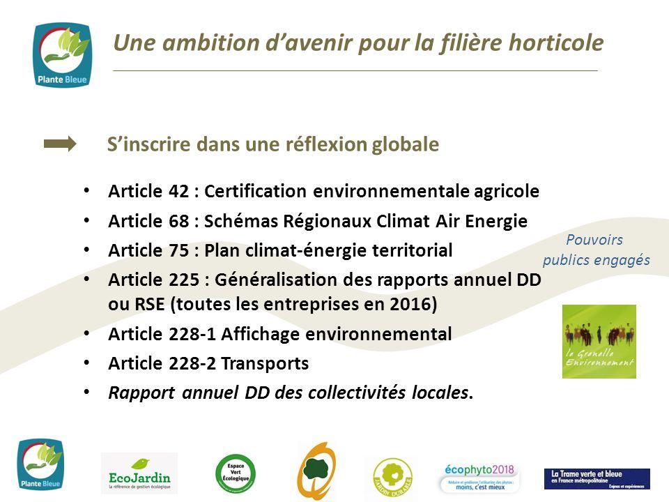 Une ambition davenir pour la filière horticole Sinscrire dans une réflexion globale Pouvoirs publics engagés Article 42 : Certification environnementa