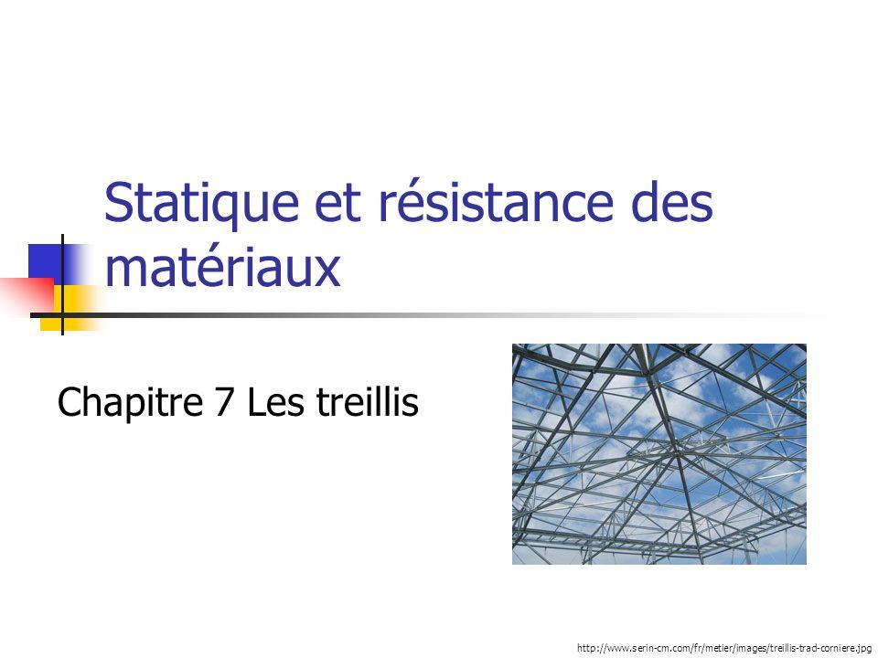 Statique et résistance des matériaux Chapitre 7 Les treillis http://www.serin-cm.com/fr/metier/images/treillis-trad-corniere.jpg
