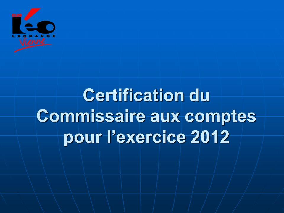 Certification du Commissaire aux comptes pour lexercice 2012