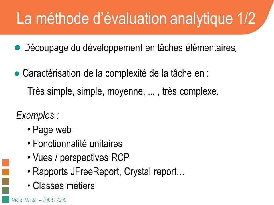 Michel Winter – 2008 / 2009 La méthode dévaluation analytique 1/2 Découpage du développement en tâches élémentaires, Caractérisation de la complexité de la tâche en : Très simple, simple, moyenne,..., très complexe.