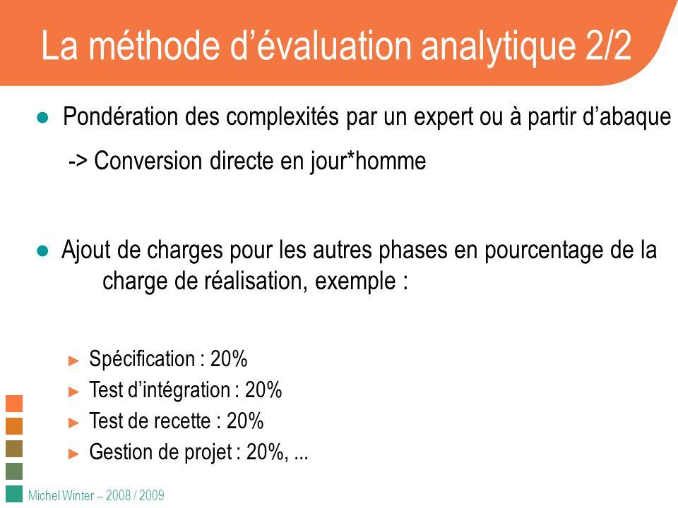 Michel Winter – 2008 / 2009 Approche analytique : essayons... Mise en œuvre excel (SOGETI)