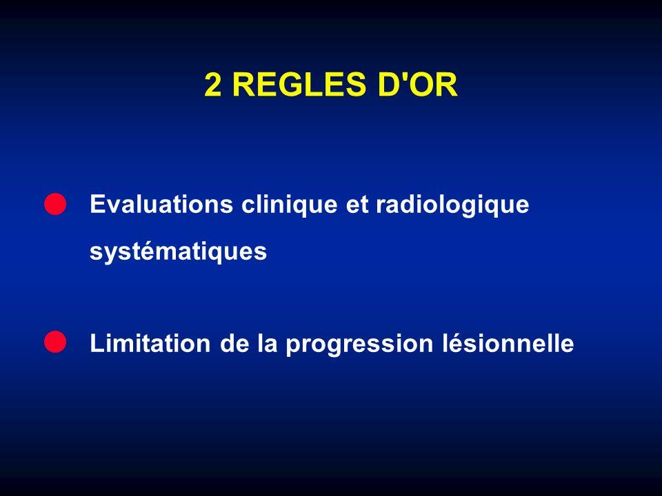 2 REGLES D'OR Evaluations clinique et radiologique systématiques Limitation de la progression lésionnelle