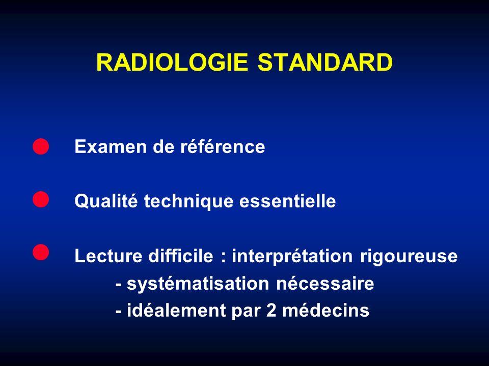 RADIOLOGIE STANDARD Examen de référence Qualité technique essentielle Lecture difficile : interprétation rigoureuse - systématisation nécessaire - idé