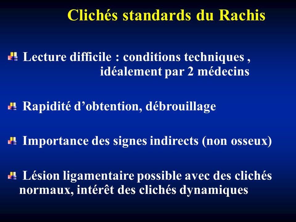 Clichés standards du Rachis Lecture difficile : conditions techniques, idéalement par 2 médecins Rapidité dobtention, débrouillage Importance des sign