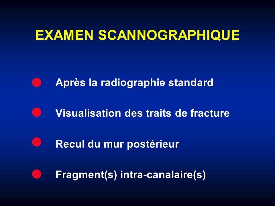 EXAMEN SCANNOGRAPHIQUE Après la radiographie standard Visualisation des traits de fracture Recul du mur postérieur Fragment(s) intra-canalaire(s)
