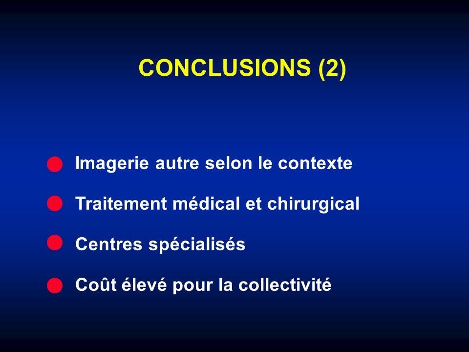 CONCLUSIONS (2) Imagerie autre selon le contexte Traitement médical et chirurgical Centres spécialisés Coût élevé pour la collectivité