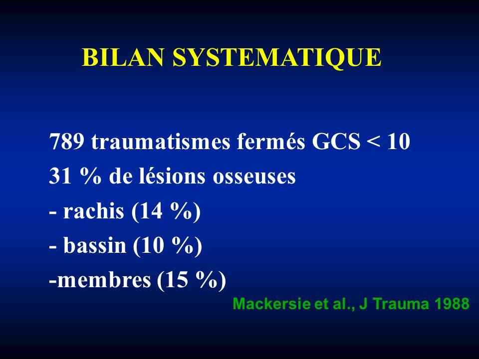 BILAN SYSTEMATIQUE 789 traumatismes fermés GCS < 10 31 % de lésions osseuses - rachis (14 %) - bassin (10 %) -membres (15 %) Mackersie et al., J Traum
