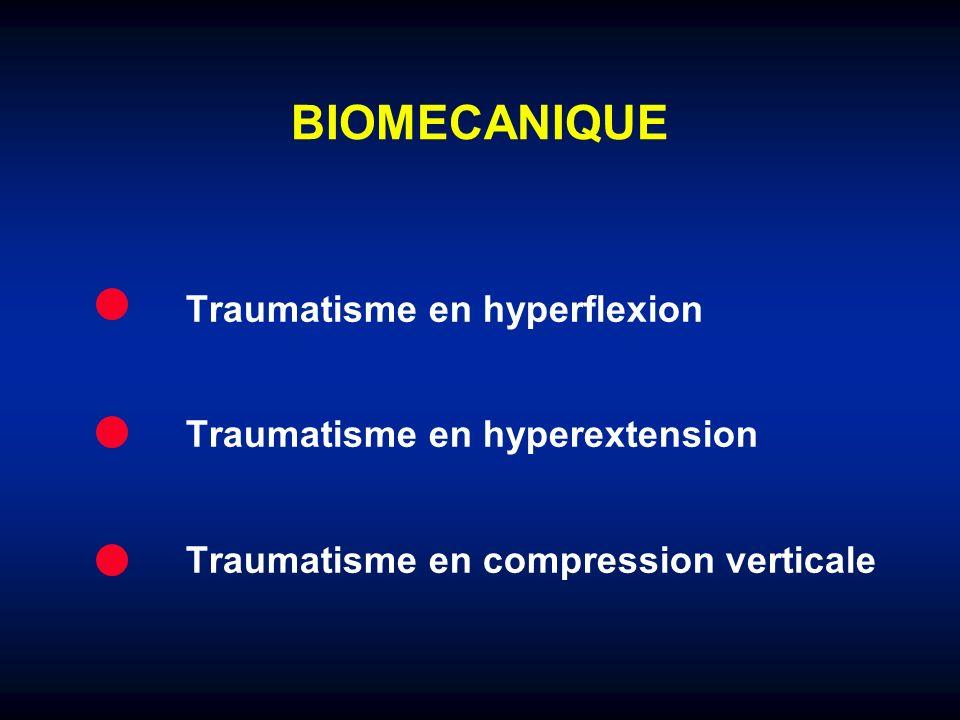 BIOMECANIQUE Traumatisme en hyperflexion Traumatisme en hyperextension Traumatisme en compression verticale