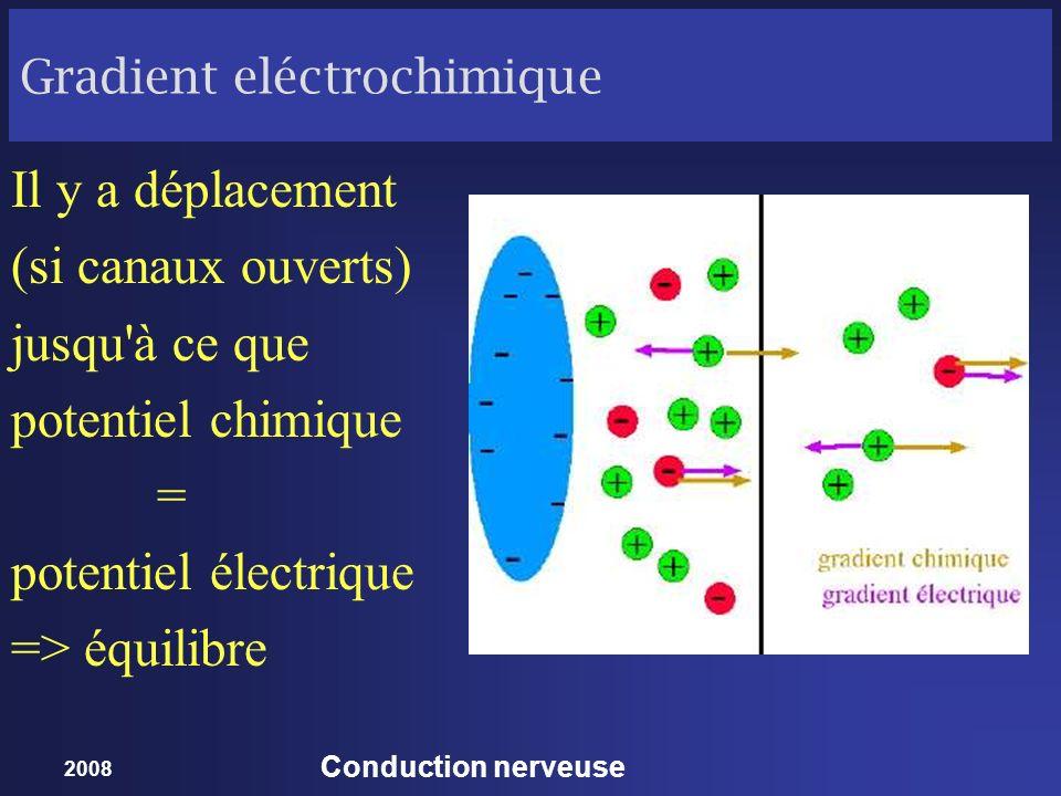 2008 Conduction nerveuse Gradient eléctrochimique Il y a déplacement (si canaux ouverts) jusqu'à ce que potentiel chimique = potentiel électrique => é