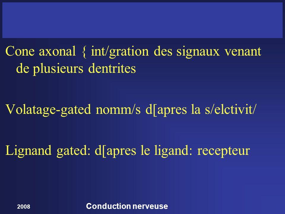 2008 Conduction nerveuse Cone axonal { int/gration des signaux venant de plusieurs dentrites Volatage-gated nomm/s d[apres la s/elctivit/ Lignand gate
