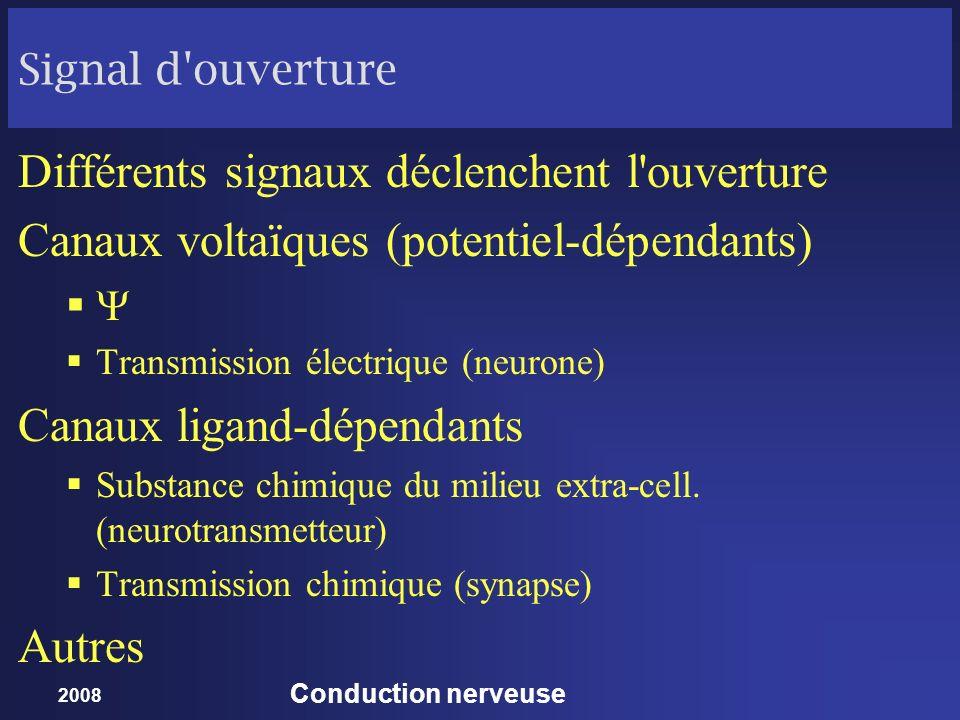 2008 Conduction nerveuse Signal d'ouverture Différents signaux déclenchent l'ouverture Canaux voltaïques (potentiel-dépendants) Transmission électriqu
