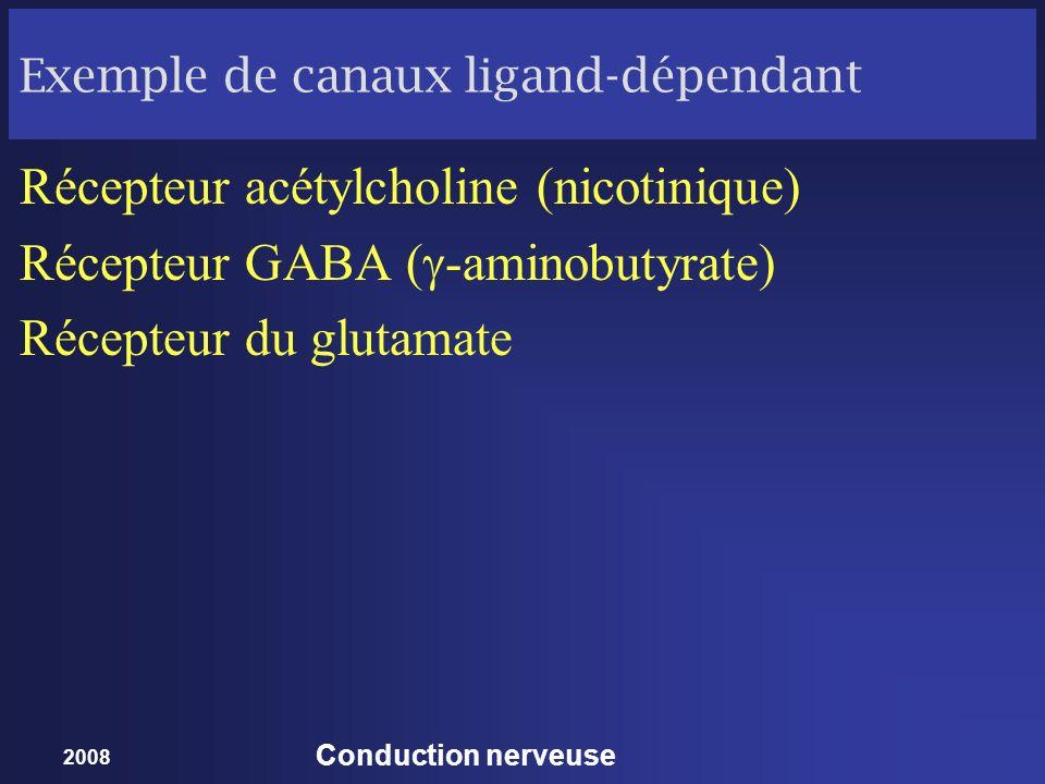 2008 Conduction nerveuse Exemple de canaux ligand-dépendant Récepteur acétylcholine (nicotinique) Récepteur GABA ( -aminobutyrate) Récepteur du glutam