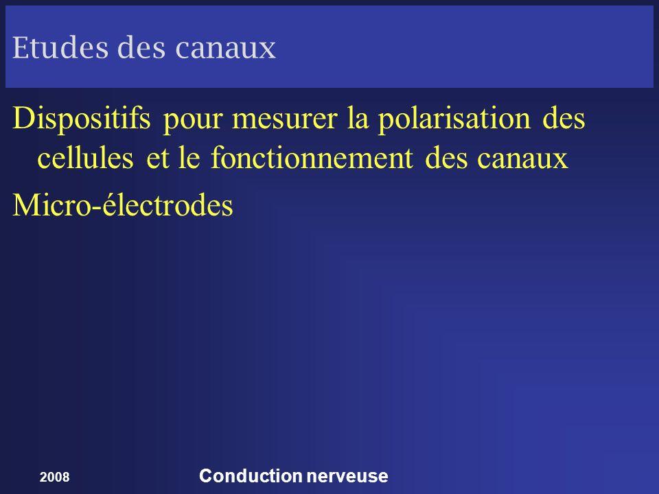 2008 Conduction nerveuse Etudes des canaux Dispositifs pour mesurer la polarisation des cellules et le fonctionnement des canaux Micro-électrodes