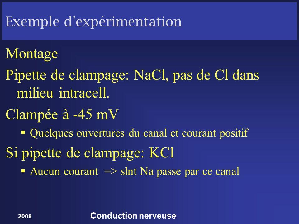 2008 Conduction nerveuse Exemple d'expérimentation Montage Pipette de clampage: NaCl, pas de Cl dans milieu intracell. Clampée à -45 mV Quelques ouver