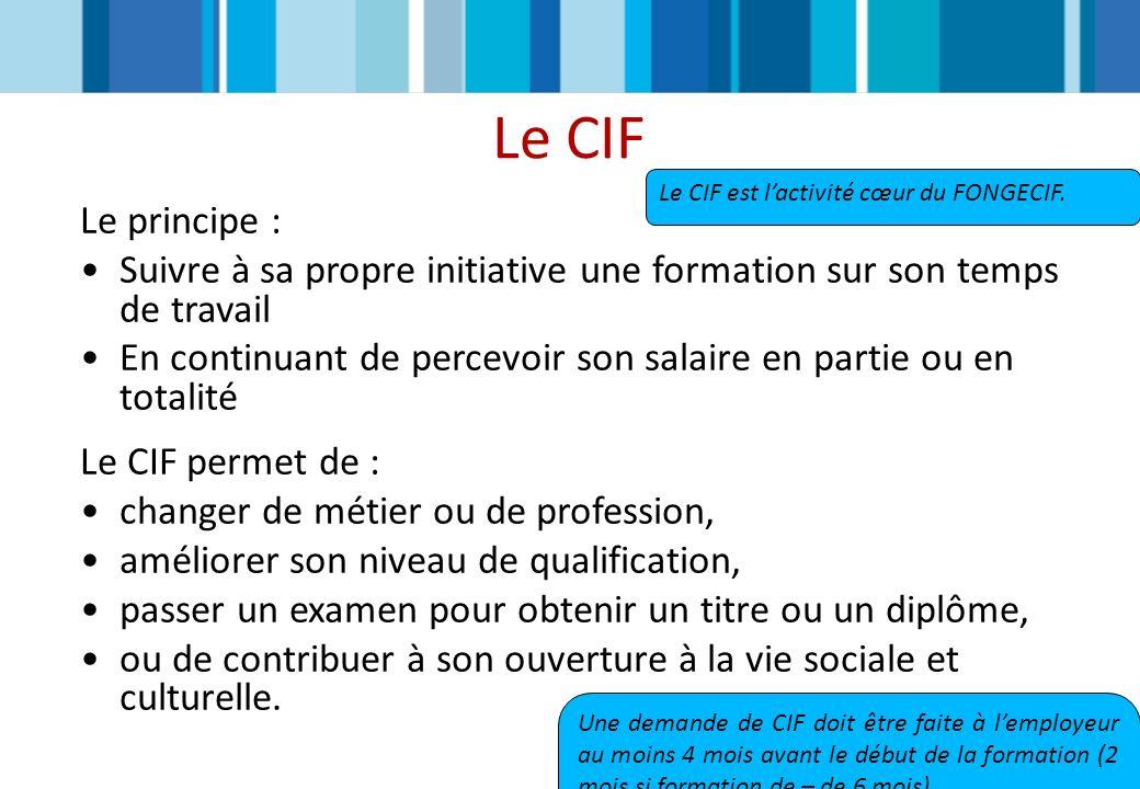 Le CIF Le principe : Suivre à sa propre initiative une formation sur son temps de travail En continuant de percevoir son salaire en partie ou en total