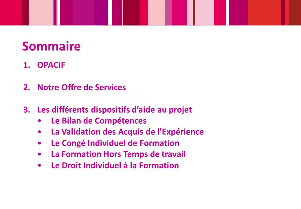 Sommaire 1.OPACIF 2.Notre Offre de Services 3.Les différents dispositifs daide au projet Le Bilan de Compétences La Validation des Acquis de lExpérien