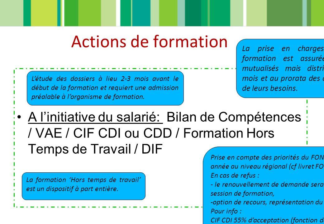Actions de formation A linitiative du salarié: Bilan de Compétences / VAE / CIF CDI ou CDD / Formation Hors Temps de Travail / DIF La prise en charges