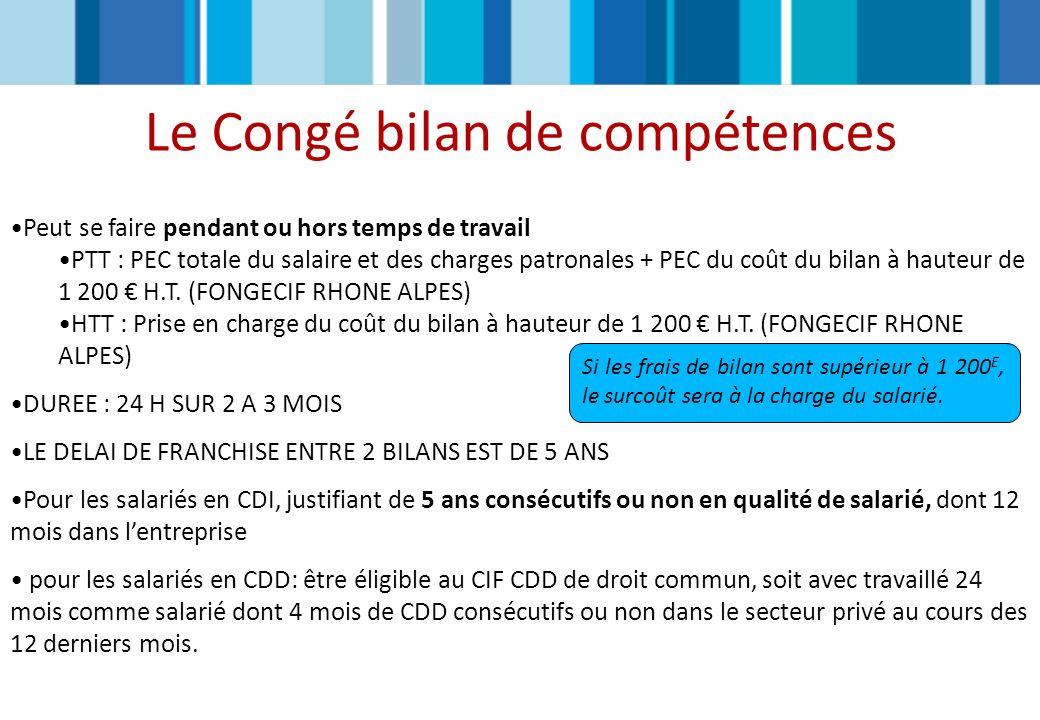 Le Congé bilan de compétences Peut se faire pendant ou hors temps de travail PTT : PEC totale du salaire et des charges patronales + PEC du coût du bi
