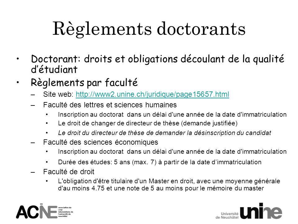 Règlements doctorants Doctorant: droits et obligations découlant de la qualité détudiant Règlements par faculté –Site web: http://www2.unine.ch/juridi