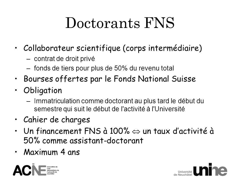 Doctorants FNS Collaborateur scientifique (corps intermédiaire) –contrat de droit privé –fonds de tiers pour plus de 50% du revenu total Bourses offer