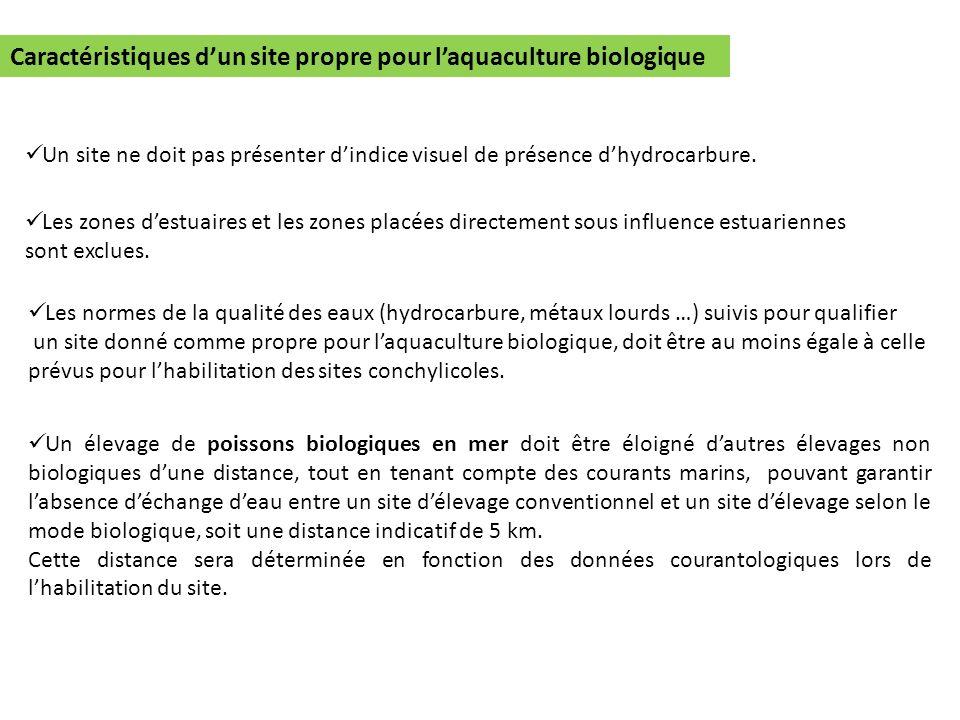Caractéristiques dun site propre pour laquaculture biologique Un site ne doit pas présenter dindice visuel de présence dhydrocarbure. Les zones destua