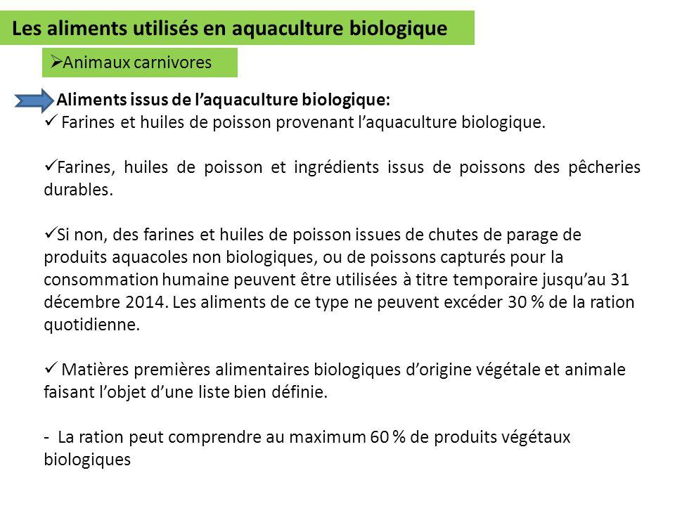Aliments issus de laquaculture biologique: Farines et huiles de poisson provenant laquaculture biologique. Farines, huiles de poisson et ingrédients i
