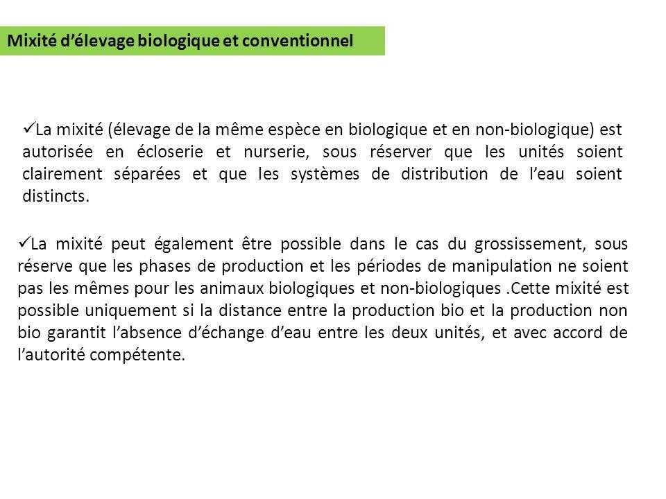 Mixité délevage biologique et conventionnel La mixité (élevage de la même espèce en biologique et en non-biologique) est autorisée en écloserie et nur