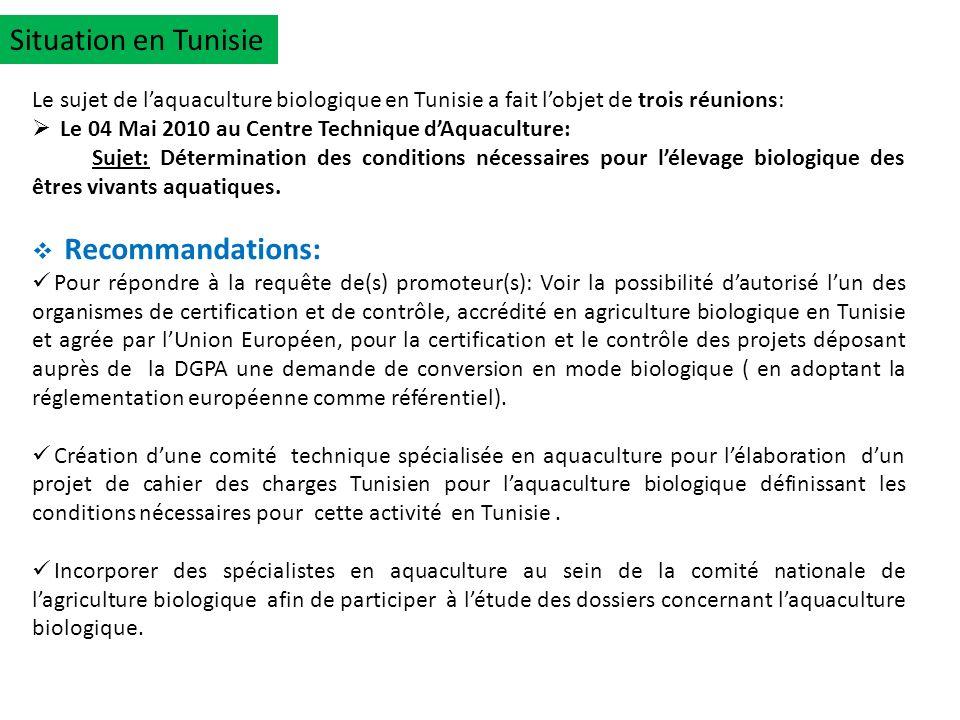 Situation en Tunisie Le sujet de laquaculture biologique en Tunisie a fait lobjet de trois réunions: Le 04 Mai 2010 au Centre Technique dAquaculture: