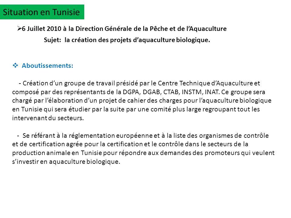 Situation en Tunisie 6 Juillet 2010 à la Direction Générale de la Pêche et de lAquaculture Aboutissements: - Création dun groupe de travail présidé pa