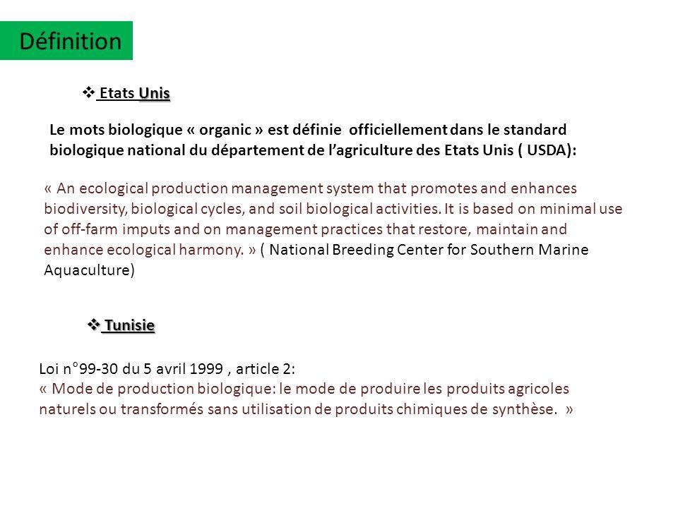 Loi n°99-30 du 5 avril 1999, article 2: « Mode de production biologique: le mode de produire les produits agricoles naturels ou transformés sans utili