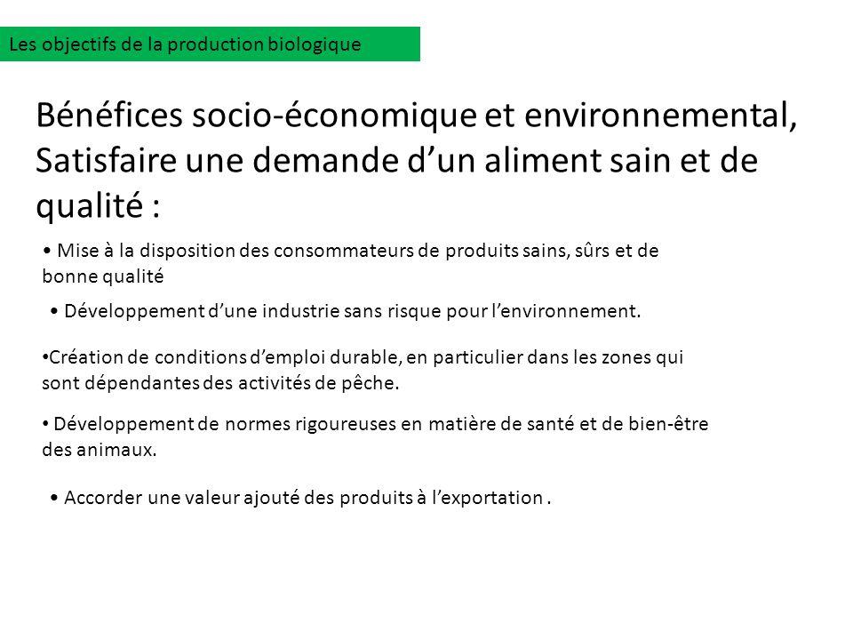 Les objectifs de la production biologique Mise à la disposition des consommateurs de produits sains, sûrs et de bonne qualité Développement dune indus