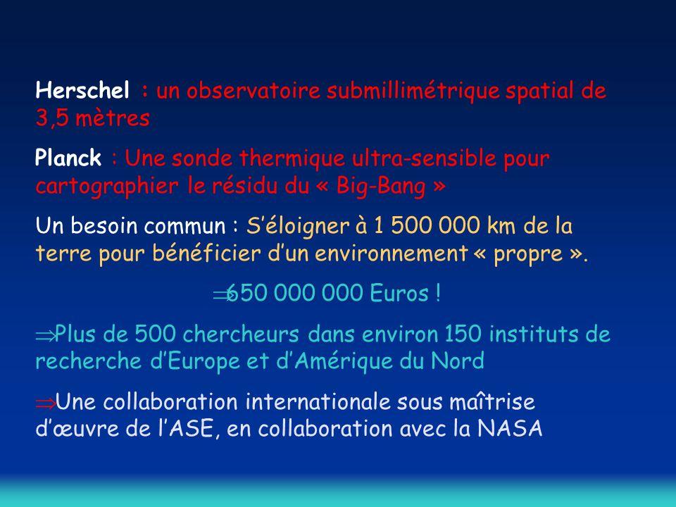 Herschel : un observatoire submillimétrique spatial de 3,5 mètres Planck : Une sonde thermique ultra-sensible pour cartographier le résidu du « Big-Bang » Un besoin commun : Séloigner à 1 500 000 km de la terre pour bénéficier dun environnement « propre ».