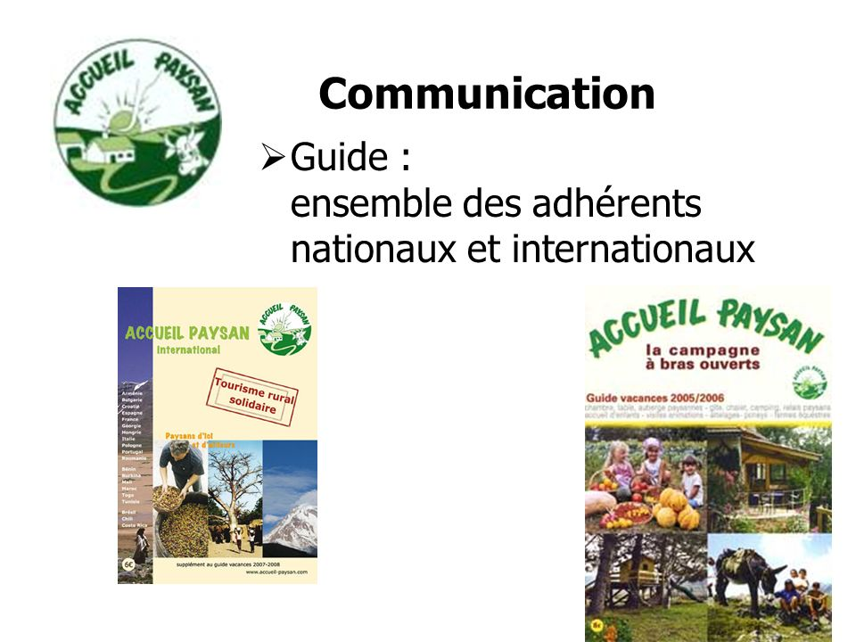 Guide : ensemble des adhérents nationaux et internationaux Communication