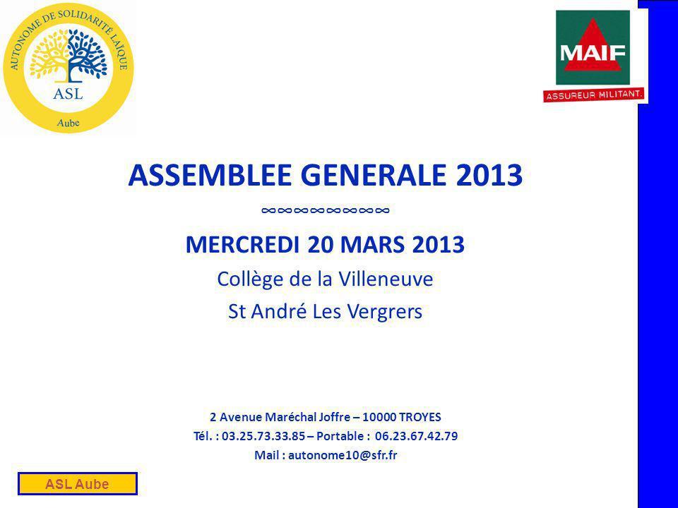 ASL Aube ASSEMBLEE GENERALE 2013 MERCREDI 20 MARS 2013 Collège de la Villeneuve St André Les Vergrers 2 Avenue Maréchal Joffre – 10000 TROYES Tél.