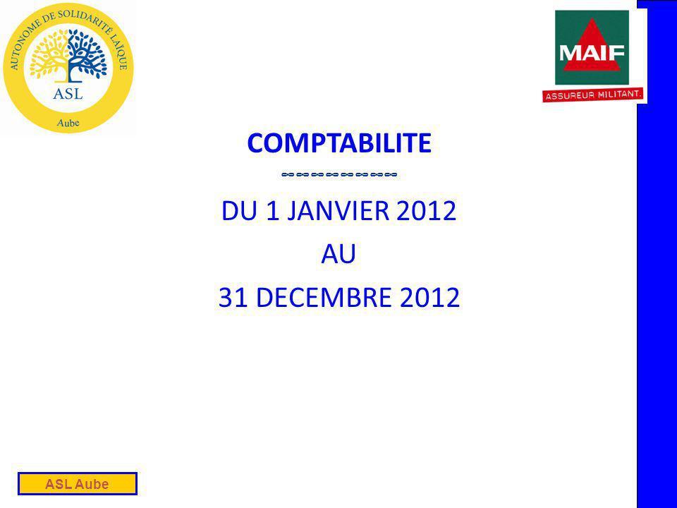 ASL Aube COMPTABILITE DU 1 JANVIER 2012 AU 31 DECEMBRE 2012