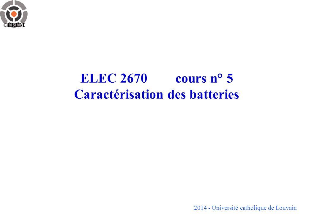 2014 - Université catholique de Louvain 12 Courbe typique de la température de gel en fonction de létat de charge (donc de la concentration de lélectrolyte en acide) Courbe typique de la vitesse dautodécharge en fonction de la température