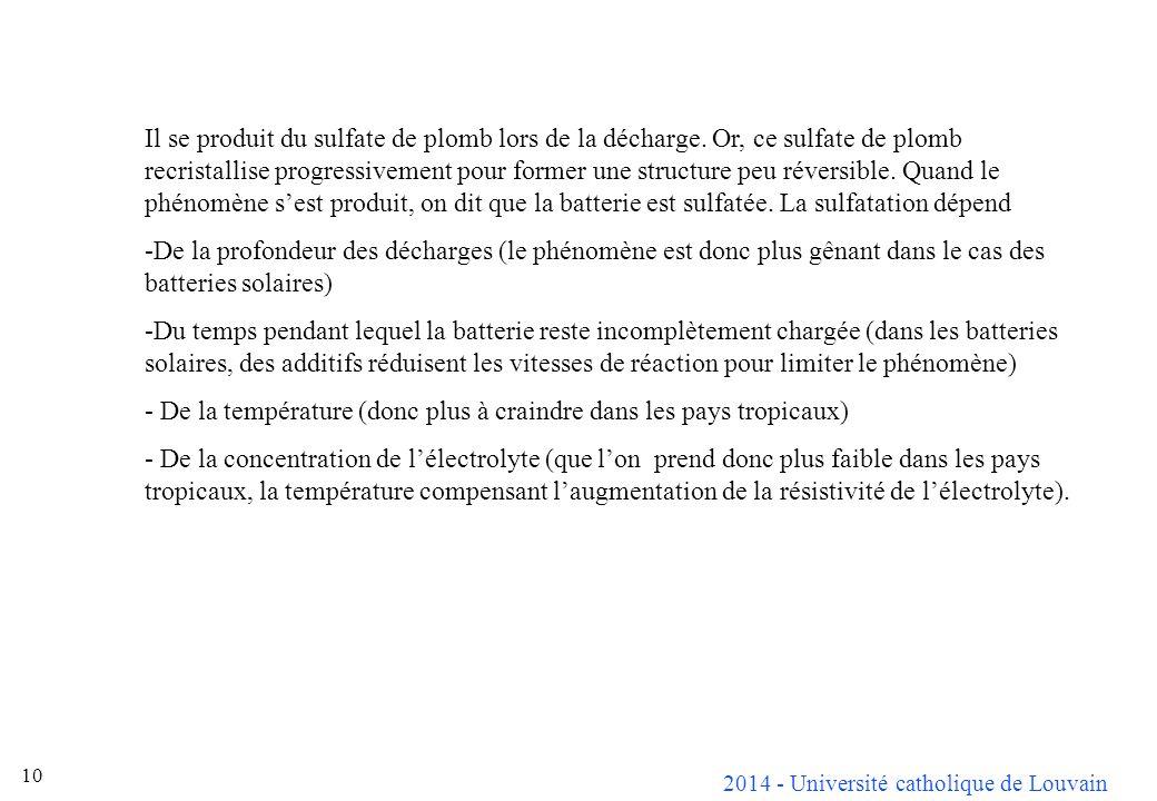 2014 - Université catholique de Louvain 10 Il se produit du sulfate de plomb lors de la décharge. Or, ce sulfate de plomb recristallise progressivemen