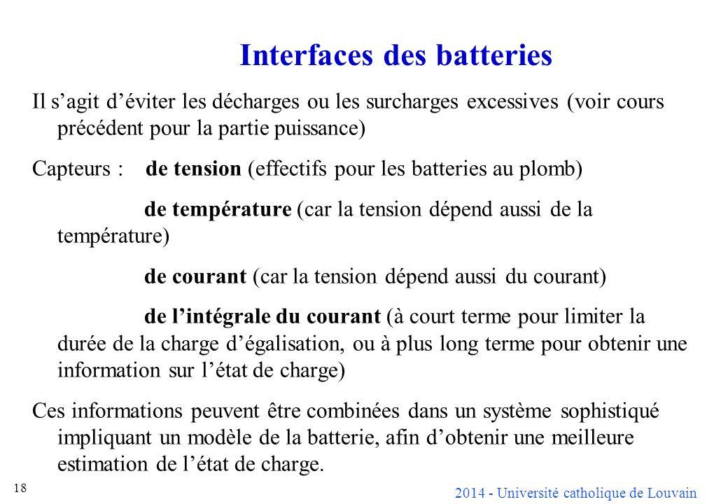 2014 - Université catholique de Louvain 18 Interfaces des batteries Il sagit déviter les décharges ou les surcharges excessives (voir cours précédent