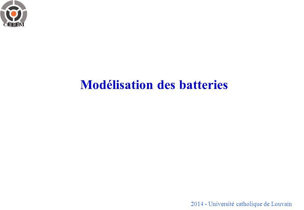 2014 - Université catholique de Louvain Modélisation des batteries