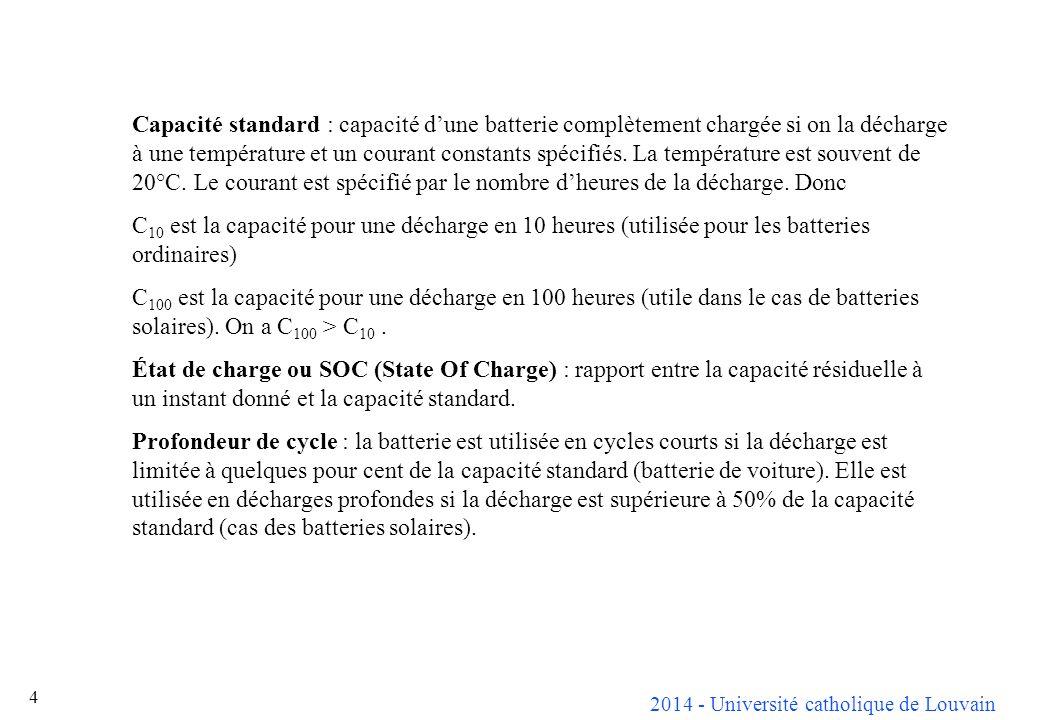 2014 - Université catholique de Louvain 5 Durée de vie dune batterie : période après laquelle la capacité de la batterie complètement chargée tombe à 80% de sa valeur initiale.