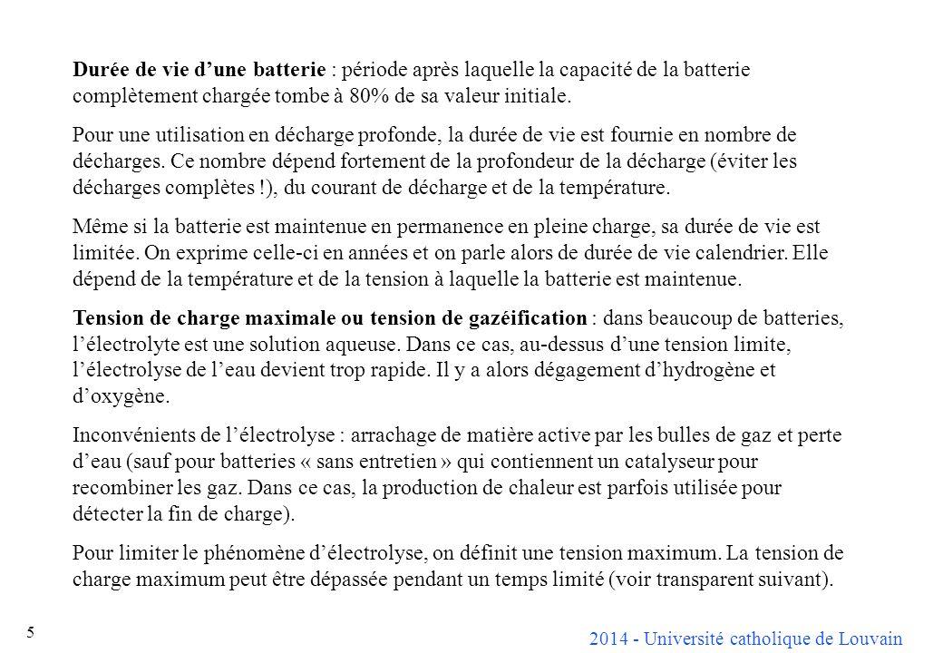 2014 - Université catholique de Louvain 5 Durée de vie dune batterie : période après laquelle la capacité de la batterie complètement chargée tombe à